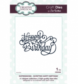CED5409 Craft Dies Scripted Happy Birthday