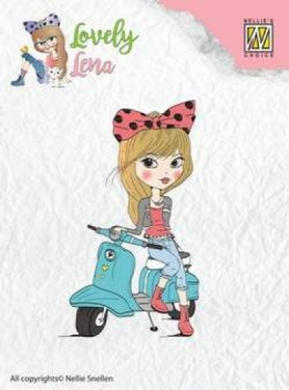 CSLL003 - clear stamps - Lena - On scooter