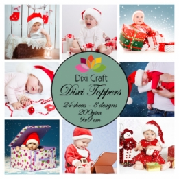 Mini toppers set 9x9 cm Christmas babies color