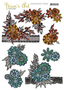 CD11168 - Yvon's Art - Flowers and Lace