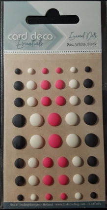 Card Deco Essentials - Enamel Dots Black White and Red