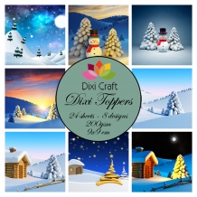 Mini toppers set 9x9 cm Snowy landscape