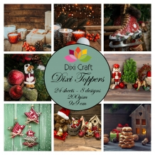 Mini toppers set 9x9 cm Vintage Christmas