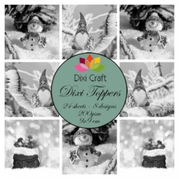Mini toppers set 9x9 cm Gnome & Snowman Grey