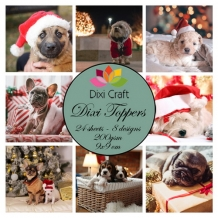 Mini toppers set 9x9 cm Christmas Dogs