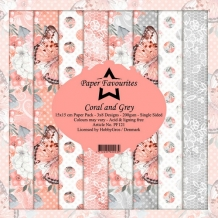 Dixi Paper Pack 15x15 cm Coral and Grey